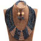 黑色 橘色多层水晶项链 手链 耳环 套链