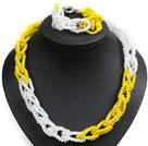 白色 黄色玉料水晶项链 手链 套链