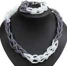 白色 灰色玉料水晶项链 手链 套链