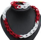 白色 红色玉料水晶项链 手链 套链