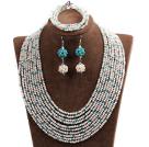 白色 蓝色多层水晶项链 手链 耳环 套链