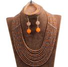 棕色 橘色多层水晶项链 手链 耳环 套链