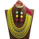 黄色 红色 玉色多层水晶项链 手链 耳环 套链