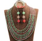 绿色 棕色 红色多层水晶项链 手链 耳环 套链