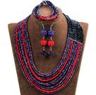 黑色 红色 蓝色多层水晶项链 手链 耳环 套链