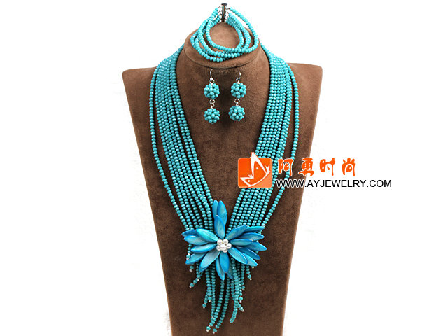 绿色玉料水晶多层项链 手链 耳环 套链 配蓝色贝壳花