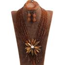 棕色水晶多层项链 手链 耳环 套链 配棕色贝壳花