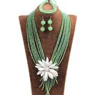 绿色水晶多层项链 手链 耳环 套链 配白色贝壳花