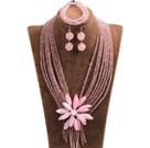 粉色水晶多层项链 手链 耳环 套链 配粉色贝壳花