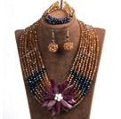 棕色 黑色多层水晶项链 手链 耳环 套链 配贝壳花 可拆卸
