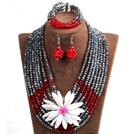 银色 红色多层水晶项链 手链 耳环 套链 配贝壳花 可拆卸