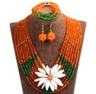 橘色 绿色多层水晶项链 手链 耳环 套链 配贝壳花 可拆卸