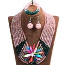粉色 深绿色多层水晶项链 手链 耳环 套链 配贝壳花 可拆卸