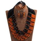黑色 橘色拼色多层水晶项链 手链 耳环 套链