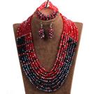 红色 黑色拼色多层水晶项链 手链 耳环 套链