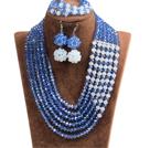 蓝色 白色多层水晶项链 手链 耳环 套链