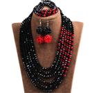 黑色 红色多层水晶项链 手链 耳环 套链