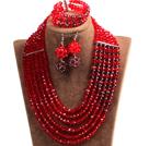 红色 棕色多层水晶项链 手链 耳环 套链