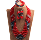 红色 黑色多层水晶项链 手链 耳环 套链