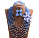 蓝色 棕色项链 手链 耳环 套链 配水晶花 可拆卸