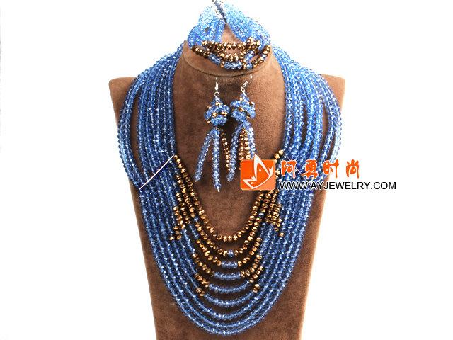 蓝色 金色多层水晶项链 手链 耳环 套链