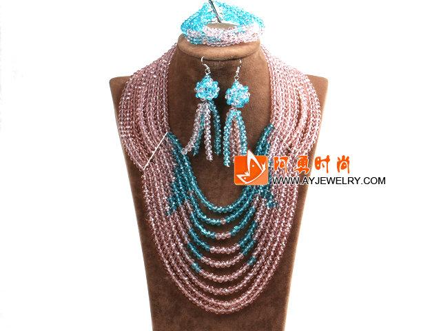 粉色 蓝色多层水晶项链 手链 耳环 套链