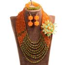 橘色 绿色项链 手链 耳环 套链 配水晶花 可拆卸