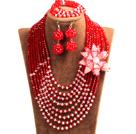 红色 白色项链 手链 耳环 套链 配水晶花 可拆卸