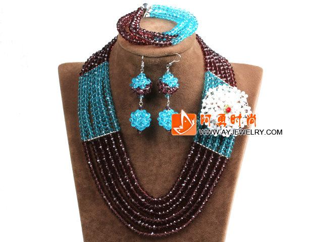 棕色 天蓝色多层水晶项链 手链 耳环 套链 配水晶花