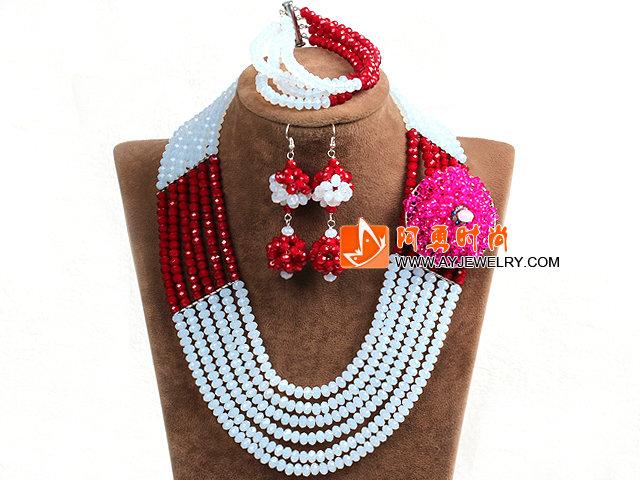 白色 红色多层水晶项链 手链 耳环 套链 配水晶花