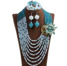 蓝色 白色多层水晶项链 手链 耳环 套链 配水晶花 可拆卸