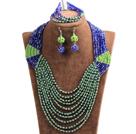 蓝色 绿色多层水晶项链 手链 耳环 套链