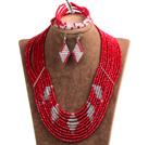 红色 白色多层水晶项链 手链 耳环 套链