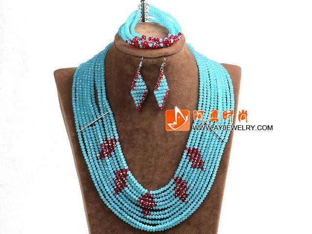 蓝色 红色多层玉料水晶项链 手链 耳环 套链
