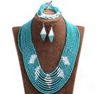 蓝色 白色多层玉料水晶项链 手链 耳环 套链