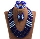 深蓝色 白色多层水晶项链 手链 耳环 套链