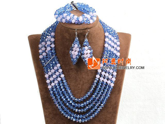 蓝色 粉色多层水晶项链 手链 耳环 套链