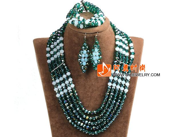 绿色 白色多层水晶项链 手链 耳环 套链