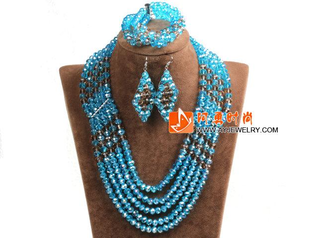 蓝色 棕色多层水晶项链 手链 耳环 套链