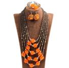 橘色茶色水晶多层项链 手链 耳环 套链
