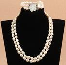 8-9mm扁巴洛克珍珠项链手链套装