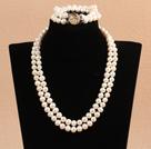 8-9mm双层珍珠项链手链套装