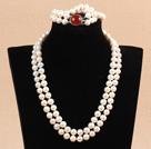 9-10mm双层白珍珠项链手链套装 配红玛瑙扣