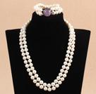 9-10mm双层白珍珠项链手链套装 配紫晶扣