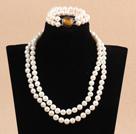 9-10mm双层白珍珠项链手链套装 配虎眼石扣