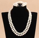 9-10mm双层白珍珠项链手链套装 配黑玛瑙扣