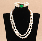 9-10mm双层白珍珠项链手链套装 配绿玛瑙扣