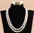 9-10mm双层白珍珠项链手链套装 配花绿石扣