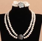 8-9mm双层白珍珠项链手链套装 配贝壳花扣