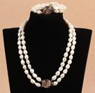 8-9mm双层扁巴洛克珍珠项链手链套装